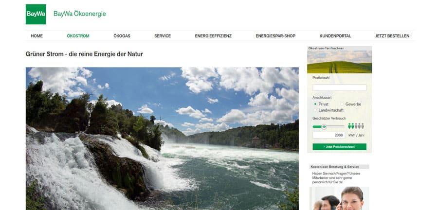 Baywa Ökostrom - Webseite