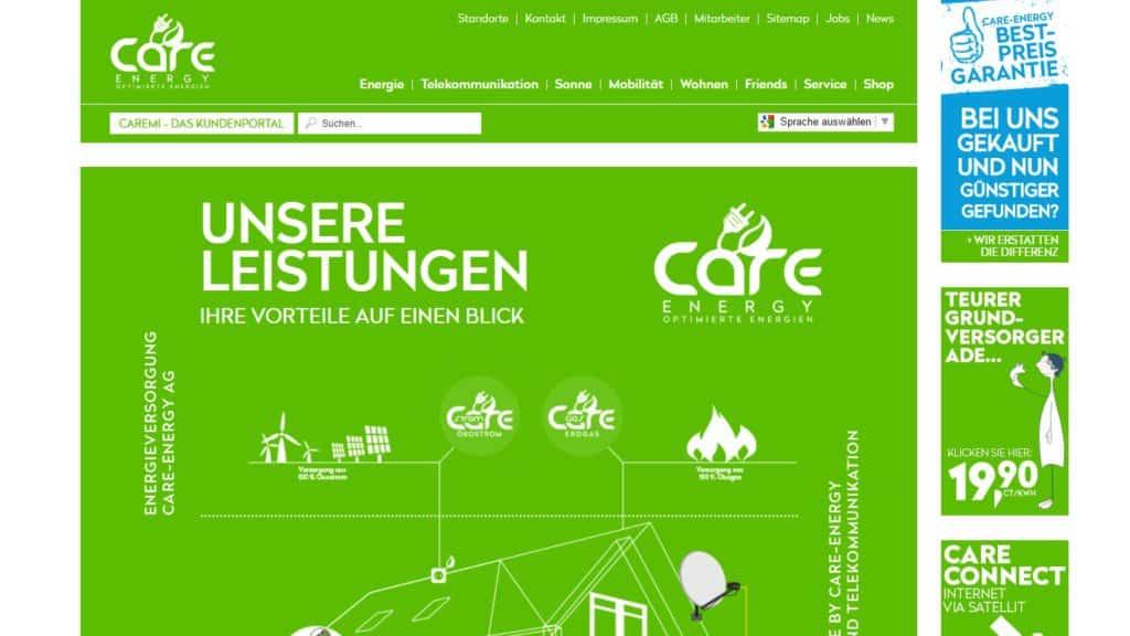Die Webseite der Care Energy