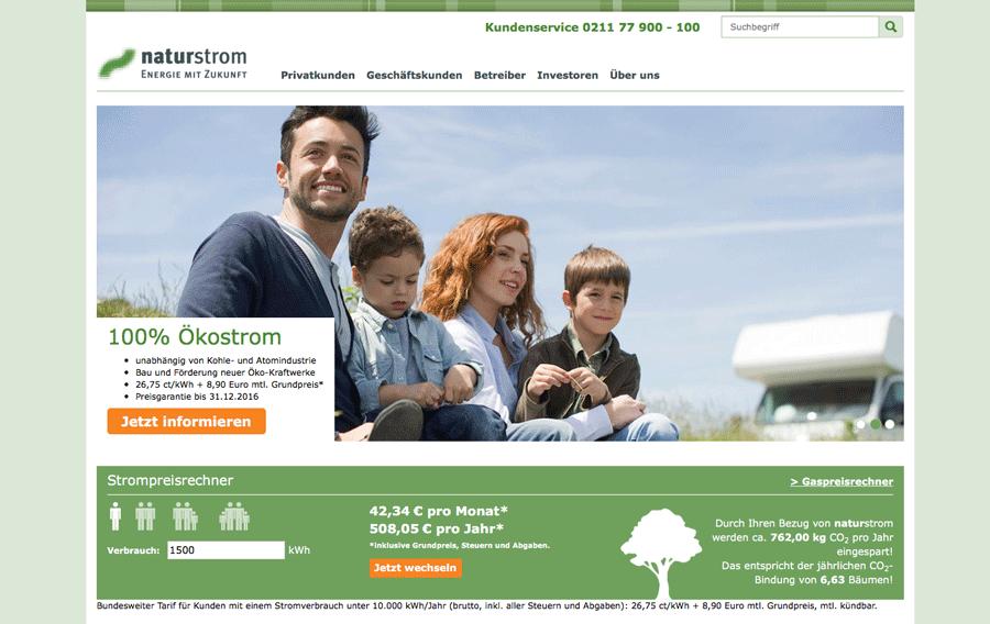 Die Webseite der Naturstrom AG